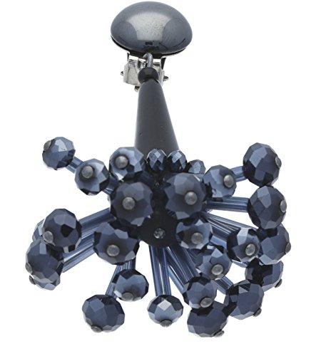 Langani Damen-Ohrclips galvanisiertes Metall Schliffperlen Glaskegel 8,5 cm 10984 92 070