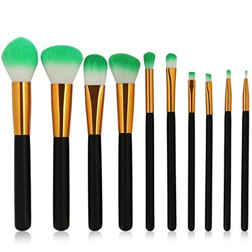 HZSLRL 6-12Pcs / Pack Pinceaux De Maquillage Ensemble De Cosmétiques Fondation Poudre Blush Ombre À Paupières Mélange Lèvres Maquillage Beauté Brosse Kits D'Outils 10Pcs Noir