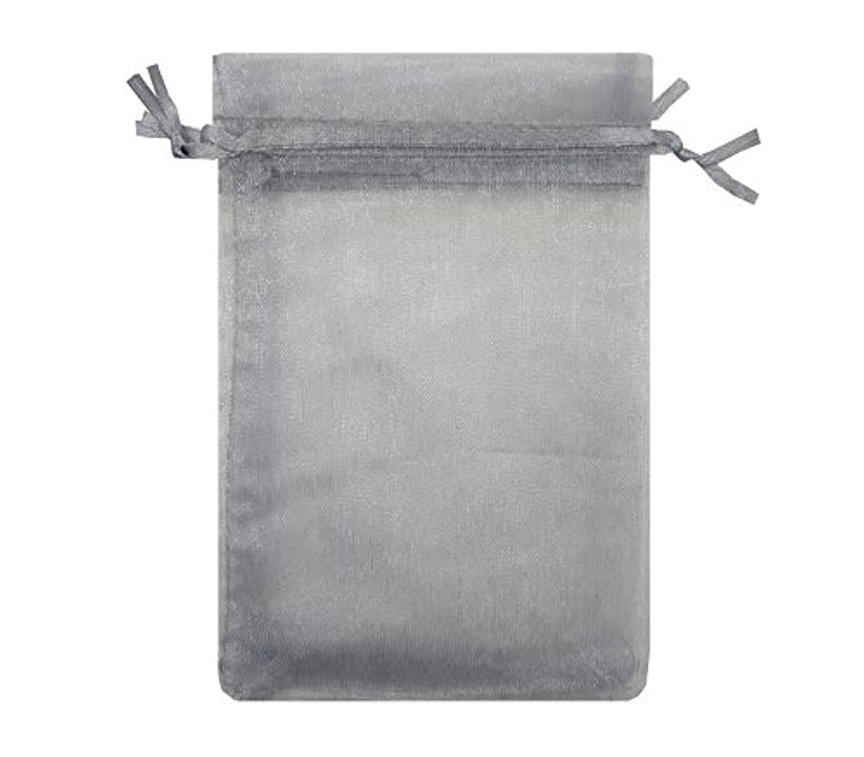 Ankirol 100pcs Sheer Organza Bags 4x6'' Wedding Baby Shower Favors Gift Card Bags Samples Orders Display Drawstring Pouches (Silver Grey)
