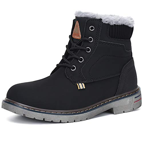 Boys Girls Winter Snow Boots Waterproof Slip Resistant Kid's Hiking Boot Mid Calf Child Outdoor Cold Weather Warm Boot Black 7.5 Toddler