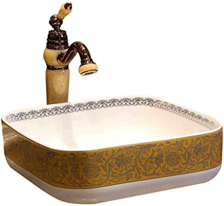 Badezimmer-quadratisches Waschbecken Retro- kreatives Jingdezhen-keramisches Hotel Anti-splash Waschbecken Waschbecken