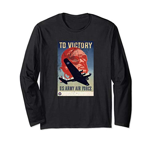 To Victory Recruiting Air Force WW2 Poster retro Langarmshirt