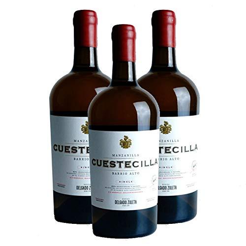 Vino Manzanilla Cuestecilla de 75 cl - D.O. Sanlucar de Barrameda - Bodegas Delgado Zuleta (Pack de 3 botellas)
