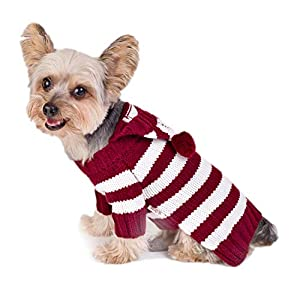 Stinky G Wine Stripe Hoodie Dog Sweater Size #10