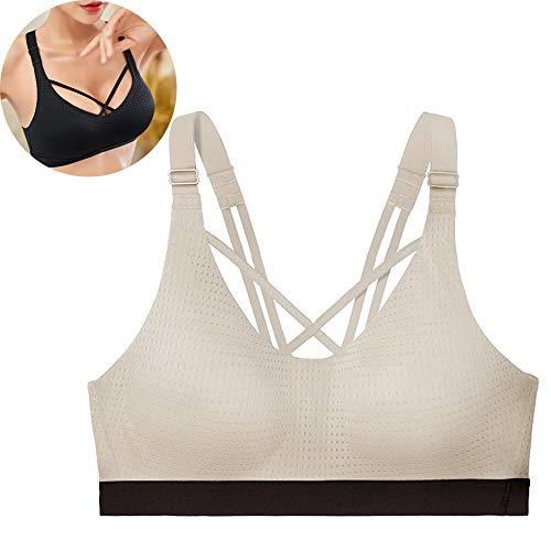 LKIHAH Sport Bh, Vrouwen Gepolijst Goede Impact Ondersteuning Cross Terug Schouderband verstelbare spons cup yoga ondergoed Workout Bras voor Gym Yoga