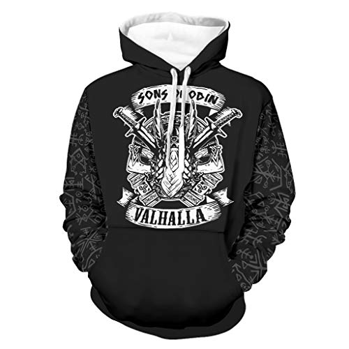 Shinelly Sudadera con capucha para hombre, diseño vikingo de Odin Valhalla, con capucha, manga larga, con bolsillos blanco XXXXXL