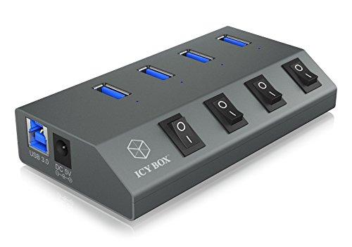 ICY BOX IB-Hub1405 4-fach USB 3.0 Hub und Ladegerät, An-/Ausschalter für jeden Port, Netzteil (5V/4A), Aluminium, Ladestandard BC 1.2, grau