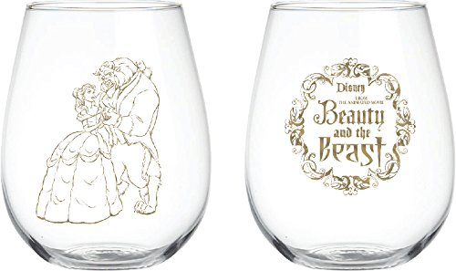 Disney Classics Collectible Stemmless Wine Glass Sets - 16 Ounces - Set of 2 (Beauty & The Beast)