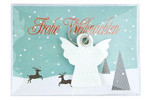 Weihnachtsgrusskarte Engel - maxi als Set mit Schlüsselanhänger aus Filz und Grusskarte / Postkarte - made-in-germany