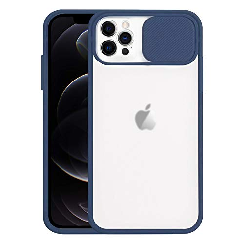 """Jusy Frosted Case Compatible with iPhone 12 Pro Max Case with Slide Camera Lens Protection Cover, Separate Cutouts for Each Lens, Silicone Slim Cover Compatible with iPhone 12 Pro Max [6.7""""](Navy)"""