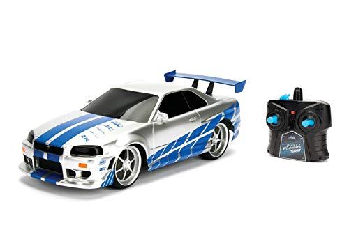 Jada Toys Fast & Furious RC-Auto, 2002 Nissan Skyline GT-R, R34, Ferngesteuertes Auto, Turbofunktion, 2-Kanal Funkfernbedienung, USB-Ladefunktion, inkl. Batterien, 1:16, blau/Silber