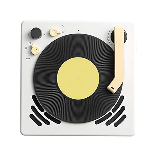 BEEFO Little Player,Portable Wireless Speaker with Strong Bass, Alarm Clock Function,Appearance of Mini Vinyl Record Player,Bluetooth 4.2, Best Gift for Birthday, Business Occasion, Music Lover,White