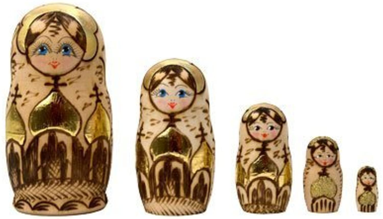 Woodburned Church Russian Nesting Doll 5pc. 4 by golden Cockerel