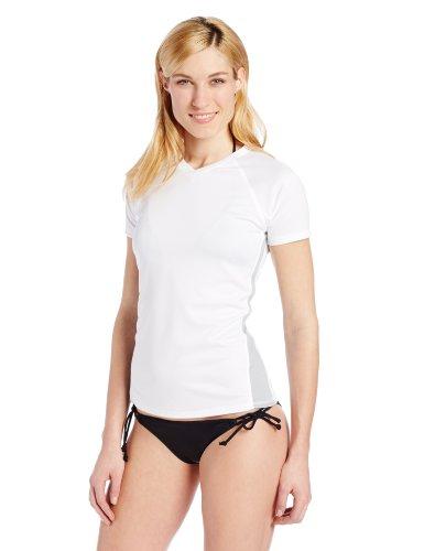 Kanu Surf Women's Short-Sleeve Rashguard, White/Grey, Large