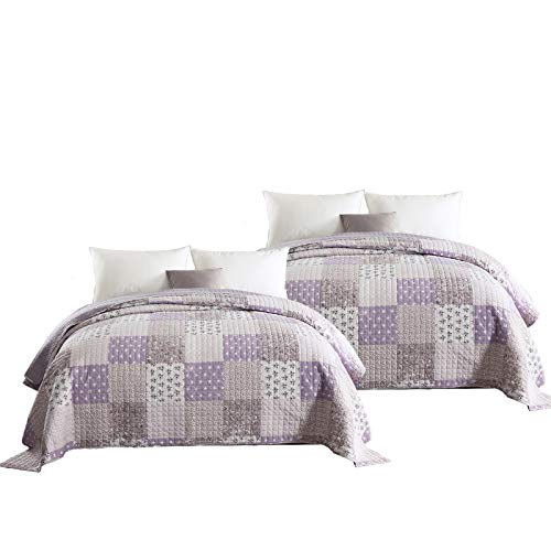 WOLTU® BD10m01-2, 2 x Tagesdecken Bettüberwurf Steppdecke Patchwork Wendedesign Bettdecke Stepp Decke Doppelbett unterfüttert und gesteppt, 150x200 cm