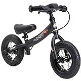 BIKESTAR Running Balance Bike para niños de 2 años con neumáticos de Aire y Frenos | 10 Inch Sport Edition | Negro