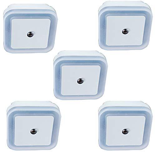 5x Luz Quitamiedos Infantil de Enchufe con Sensor Inteligente. Luz Led de Guía Habitación Bebé, Pasillo, Baño (5 unidades)