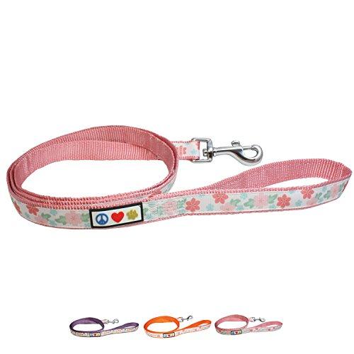 Pawtitas Bloemige Leiband Pup Hondenriem | Comfortabele Handvatriem 1,5 m | Ideaal voor het trainen van uw hond, Gedragsriem voor honden, Middelgroot/Groot - Roze hondenriem
