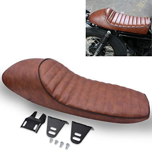 KaTur - Sillín acolchado, universal, con elevación, de estilo vintage, color negro, para motocicletas Cafe Racer Honda CB125S, CB550, CL350, 450, CB o CL