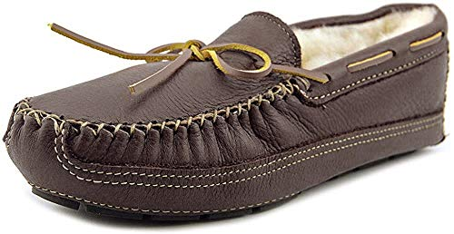 Minnetonka Men's Sheepskin-Lined Moose Slippers 13 M Chocolate