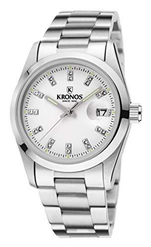 Kronos - Elegance White Zirconia 968.8.32ZR - Reloj de señora de Cuarzo, Brazalete de Acero, Color Esfera: Blanca