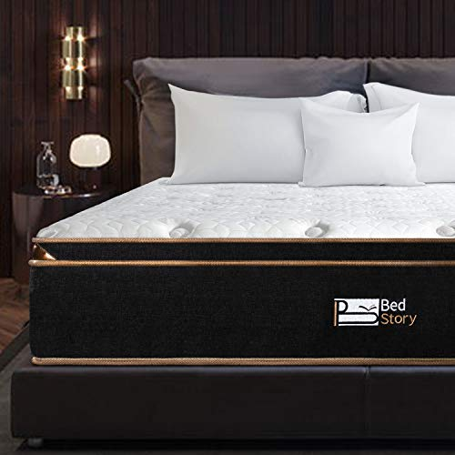 BedStory 12 Inch Queen Mattress, Luxury Hybrid Mattresses with Individually Encased Spring Coils & Cooling Gel Memory Foam, Euro Top Bed in A Box - Medium Firm Support