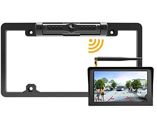 "License Plate Wireless Backup Camera, LASTBUS 170° View Angle Universal IP69 Waterproof Car License Plate Frame Camera + 5"" HD LCD Monitor for Car RV Box Truck SUV Pick Up Truck Van"