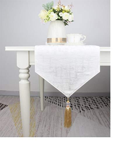 XYHHStor Casa clásica Estilo Rectangular Resistente Hotel Home Cocina Comedor Corredor de la Tabla Mat, para la Cocina del Banquete de Boda (Color : White, Size : 35X183CM)