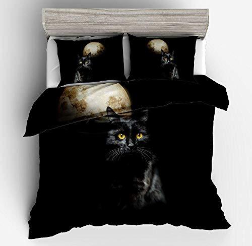 ENLAZY Kinderbettbezug Set 3D Niedliche Katze Bedruckte Bettwäsche Bettbezug und 2 Kissenbezüge Bettbezug Set Pflegeleicht,G,Double(155 * 220CM)