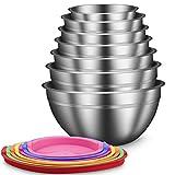 Daiweier Set DE 7 Máximo 6.5L Apilable Cuenco de Cocina en Acero Inoxidable Multicolor con Tapas, Bordes Anchos Ensaladera Extraprofundos Boles para Mezclar Muy PulidaTazones para Refrigerios