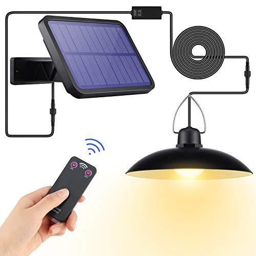 Lovebay Solarlampen für Außen, IP65 Wasserdichte Solar Hängelampe mit Fernbedienung, 3m Kabel, LED Solarleuchten Außen für Garten, Hof, Camping, Garage, Haus Dekoration, 180 ° Einstellbares Solarpanel
