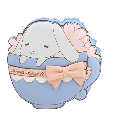 Kawaii-Story LB-72-1 Taza de té azul claro con conejo, conejo, lazo de perlas y correa Sakura Sweet Pastel Goth Lolita Bag Japón Harajuku