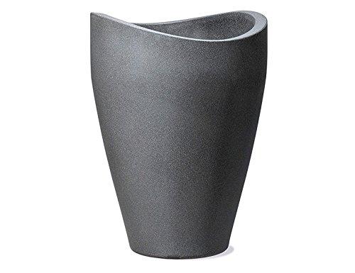 Scheurich Wave Globe High, Hochgefäß aus Kunststoff, Schwarz-Granit, 40 cm Durchmesser, 54 cm hoch, 16 l Vol.