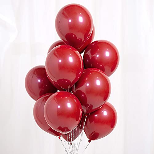 SSCXH 10 20pcs 10Inch Ruby Red Pearl Love Heart Latex Helium Balloons Valentine's Day Wedding Birthday Party Decorations Globos(Ruby red Heart,20pcs)