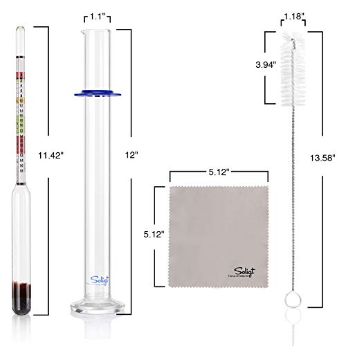 Triple Scale Hydrometer and Glass Test Jar for Wine, Beer, Mead, Cider & Kombucha - ABV, Brix and Gravity Test Kit