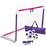 Morvat Soccer Goal Set for Backyard, Kids Outdoor Toys, Outside Toys Soccer Goals for Kids, Girls Soccer Accessories, Toddler Soccer Goals for Backyard, Soccer Ball, Junior Ball, Pink and Purple