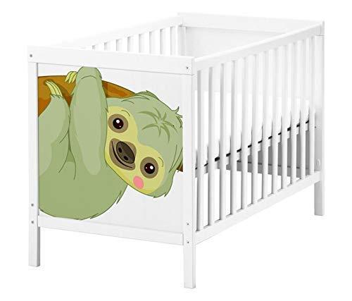 Set Möbelaufkleber für Ikea SUNDVIK Babybett Kinderzimmer Cartoon Faultier Kat2 Tier Ast Baum Afrika SU1 Aufkleber Möbelfolie sticker (Ohne Möbel) Folie 25T2573
