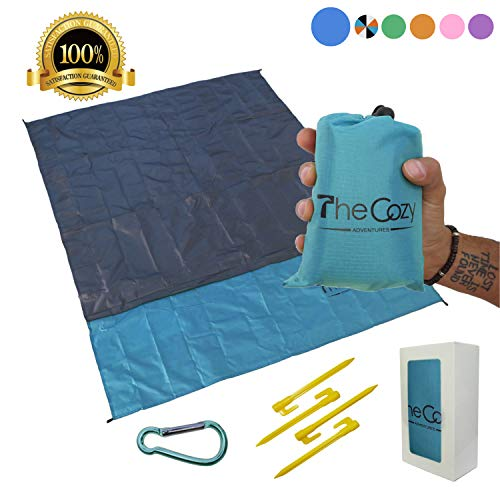 TheCozy Adventures Sand Free Compact Beach Blanket - Pocket Picnic Sheet Outdoor Multiple Use | Best Mat Travel & Festivals, Soft & Quick Drying 4 Portable Hiking Sticks (Ocean Blue)