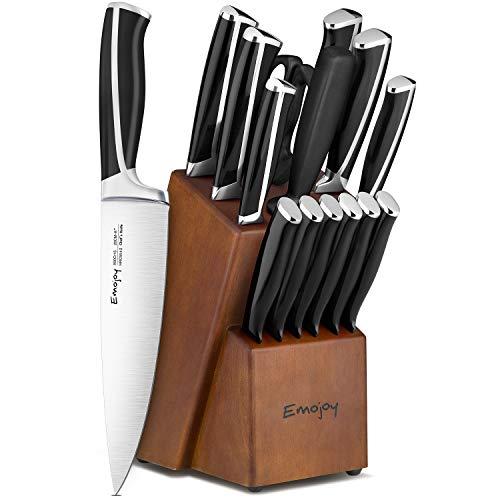 Emo joy Knife Set, 15-Piece Kitchen Knife Set with Block Wooden, Black Handle for Chef Knife Set, German Stainless Steel Cutlery Knife set
