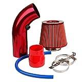 CarBole Filtro aria sportivo universale Raffreddamento aria Kit filtro ingresso aria per auto Sistema di ingresso aria universale in fibra di carbonio con tubo rosso