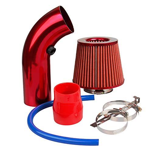 CarBole Universal Sportluftfilter Luftkühlung Auto Lufteinlassfilter Kit Universal Kohlefaser Lufteinlasssystem mit Schlauch Rot