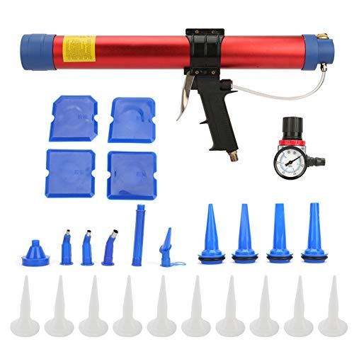 Herramienta de calafateo neumática, pistola de aire de pegamento suave de 600 ml, herramienta manual neumática con medidor de velocidad para decoración arquitectónica