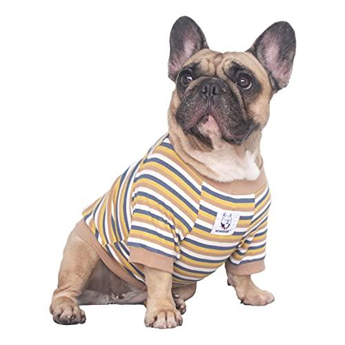 iChoue High Stretchy Dog Shirts for Medium Dogs Tank Top Vest Clothes French Bulldog Frenchie Pug English Pitbull Boston Terrier Yellow Stripe - M
