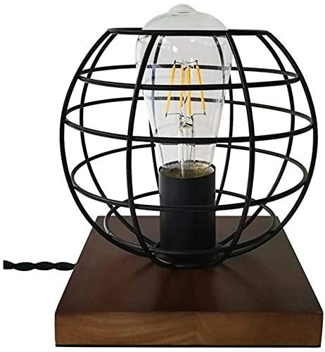 Lievevt Lámpara Escritorio Lámpara de Noche Decorativa para Dormitorio, Estilo Industrial Retro, lámpara de Mesa de Madera Maciza de Dison Sexual Antigua Creativa