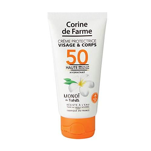 Corine de Farme   Crème Protectrice SPF50 UVA-UVB   Soin Solaire Visage et Corps au Monoï   Formule Clean Beauty Résistante à l'Eau   Format Pocket 50ml