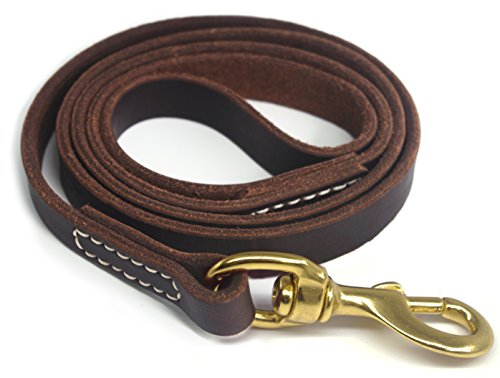 YOGADOG Genuine Leather Dog Training Leash. 4/6 ft Length 3/5 inch Width for Medium and Large Dogs.(4 feet)