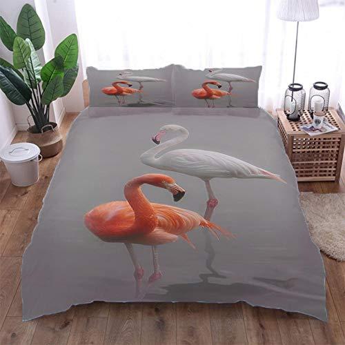 Jior Home Art dekbedovertrek set, geborsteld microvezel, anti-allergeen, dekbedovertrek met 2 kussenslopen, ritssluiting ontwerp Flamingo 3D gedrukt