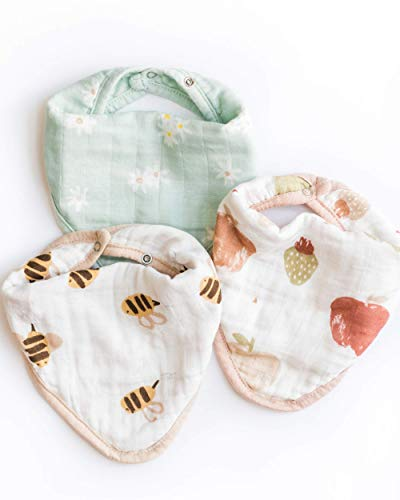 Nightingale Baby Bandana Bibs - Super Soft Hypoallergenic Bamboo Muslin Drool Cloths - Absorbent Breathable Fabric Burp Towels for Infant Boys & Girls, Machine Washable - Unisex Daisy/Bee/Fruit