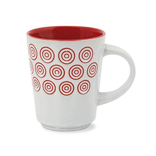 Yuri Blumian-Tazas Desayuno -Pack de 6   Tazas de cerámica   Tazas en Dos Vivos Colores 3 Rojas- 3 Negras  Tazas Originales   Tazas café con Leche   Tazas té   Tazas de 400 ml.