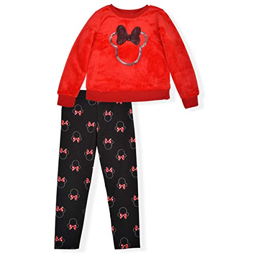 Disney Girl's 2-Piece Minnie Mouse Legging Pants Set with Sequined Pullover Long Sleeve Shirt, Red/Black, Size 2T
